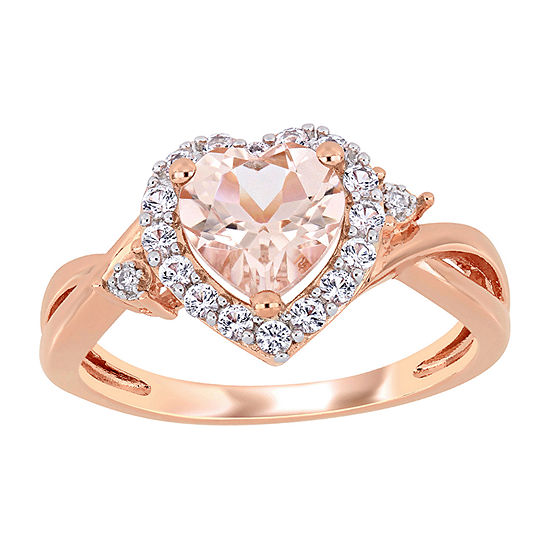 Womens Diamond Accent Genuine Pink Morganite 18K Rose Gold Over Silver Heart Cocktail Ring