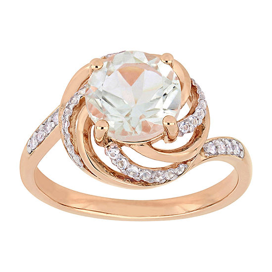 Womens Diamond Accent Genuine Green Amethyst 18K Rose Gold Over Silver Cocktail Ring