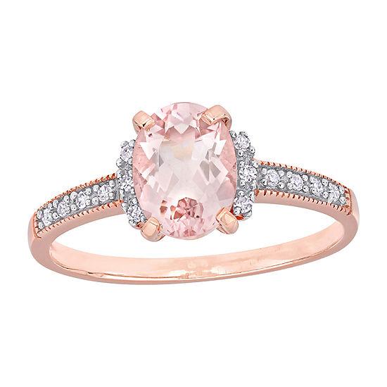 Womens Diamond Accent Genuine Pink Morganite 10K Rose Gold Promise Ring