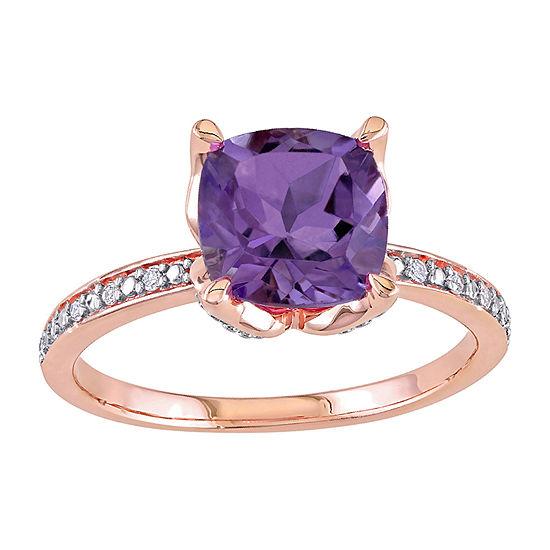 Womens Diamond Accent Genuine Purple Amethyst 10K Rose Gold Promise Ring