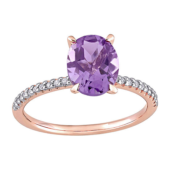 Womens 1/10 CT. T.W. Genuine Purple Amethyst 14K Rose Gold Promise Ring