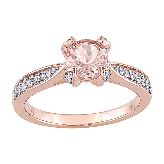 Womens 1/5 CT. T.W. Genuine Pink Morganite 14K Rose Gold Engagement Ring