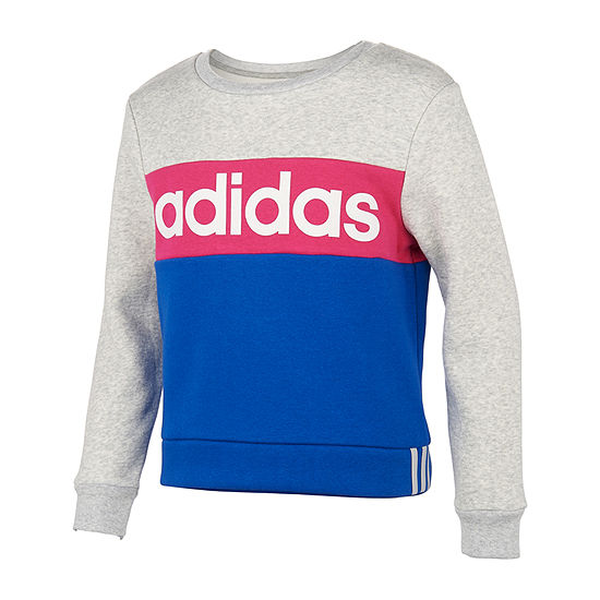 adidas Girls Round Neck Long Sleeve Sweatshirt - Big Kid