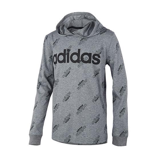 adidas Boys Hooded Neck Long Sleeve T-Shirt-Big Kid