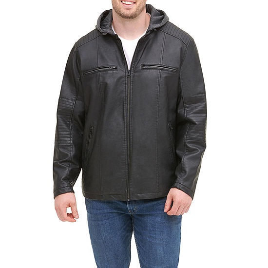 Levi's Big & Tall Faux Leather Hooded Moto Jacket