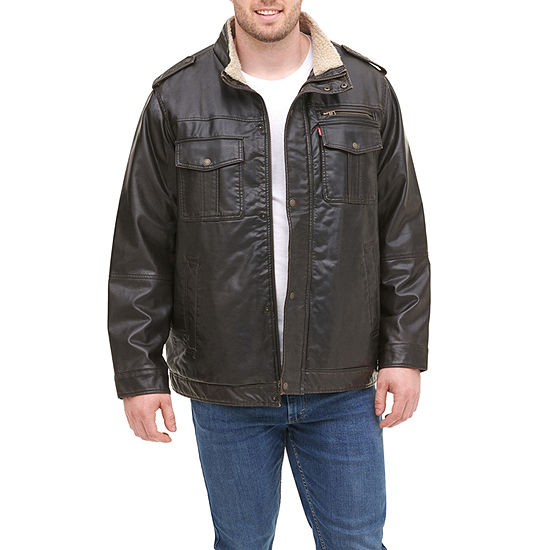 Levi's Big & Tall Faux Leather Sherpa Lined Military Jacket
