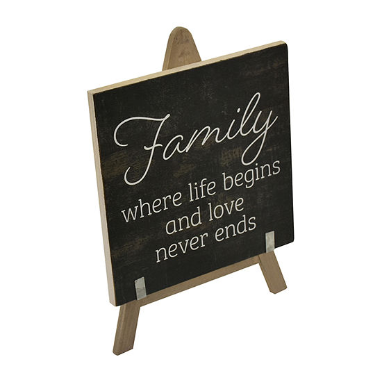 Elements 11in Wood Easel-Family Tabletop Decor