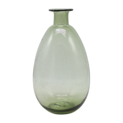 Elements 13in Green Glass Bubble Vase