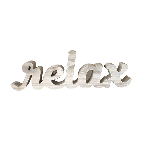 Elements 13in Wood Decorative Cutout - Relax Letter Blocks