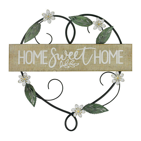 Elements 16in Floral Heart Home Sweet Home Sentiments + Sayings Metal Wall Art