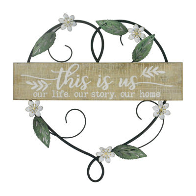 Elements 16in Floral Heart Ths Is Us Sentiments + Sayings Metal Wall Art