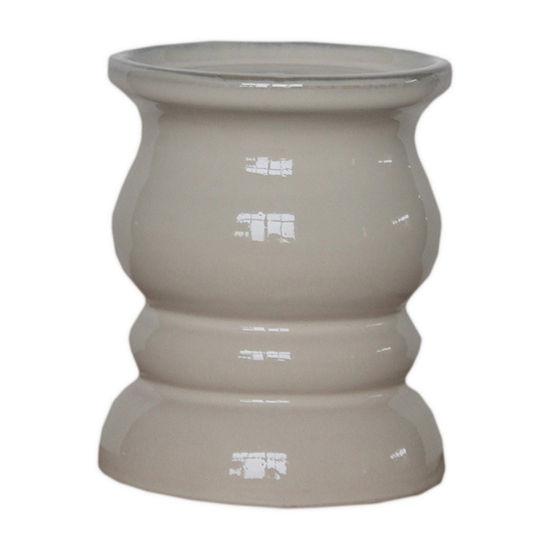 Elements 5in Cream Ceramic Candle Holder