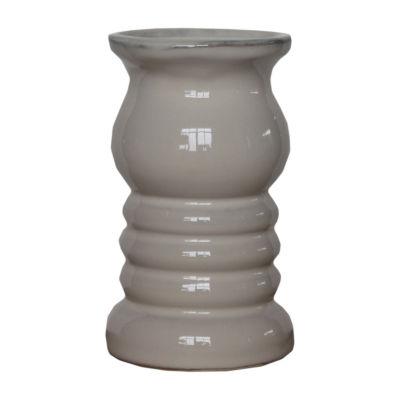 Elements 7in Cream Ceramic Candle Holder