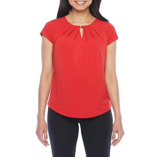 Liz Claiborne Short Sleeve Metal Neck Top - Petite