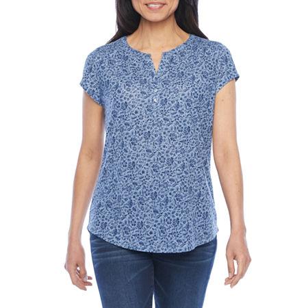 Liz Claiborne Womens Split Crew Neck Short Sleeve Henley Shirt, Petite Small , Blue