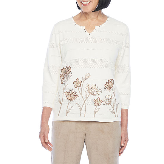 Alfred Dunner First Frost Womens Split Crew Neck 3/4 Sleeve Floral Pullover Sweater