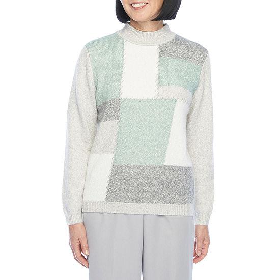 Alfred Dunner Lake Geneva Womens Mock Neck Long Sleeve Pullover Sweater