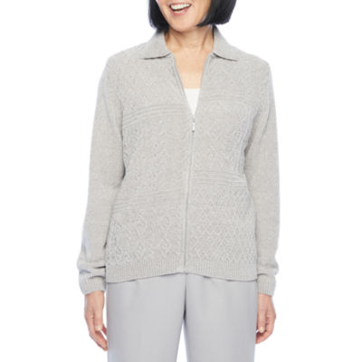 Alfred Dunner Lake Geneva Womens Long Sleeve Cardigan
