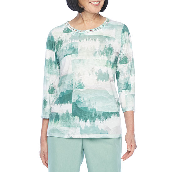Alfred Dunner Lake Geneva-Womens Crew Neck 3/4 Sleeve T-Shirt