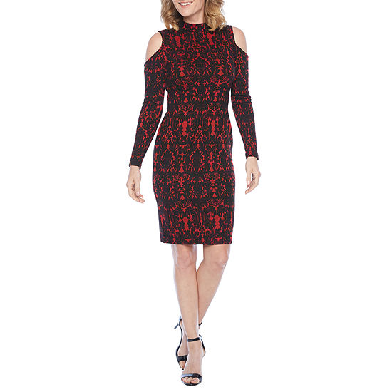 Bold Elements Long Sleeve Jacquard Bodycon Dress