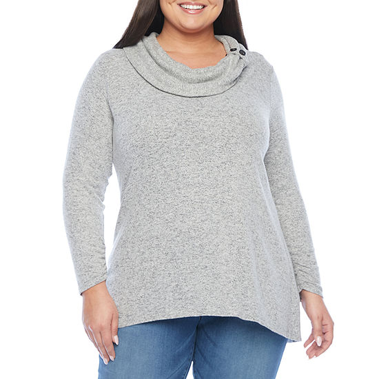 Alyx Womens Cozy Button Cowl Knit Sweater - Plus