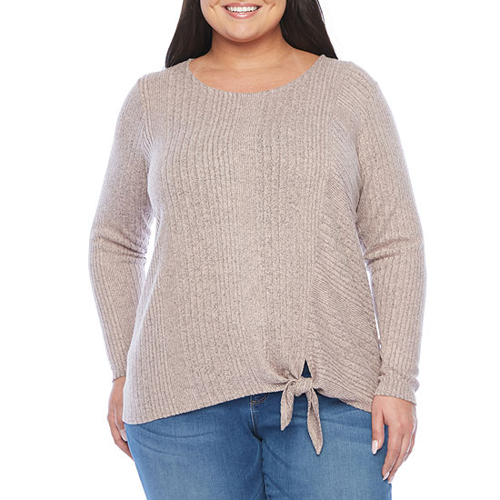 Alyx-Plus Womens Round Neck Long Sleeve Pullover Sweater