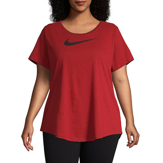 Nike Womens Scoop Neck Short Sleeve T-Shirt - Plus