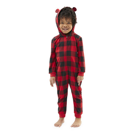 North Pole Trading Co. Buffalo Plaid Toddler Unisex Knit Long Sleeve One Piece Pajama, 2t , Red