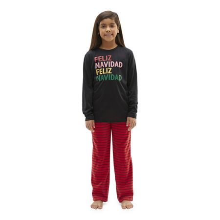 North Pole Trading Co. Feliz Navidad Little & Big Unisex 2-pc. Christmas Pajama Set, Small , Black