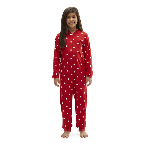 North Pole Trading Co. Girls Knit Long Sleeve One Piece Pajama
