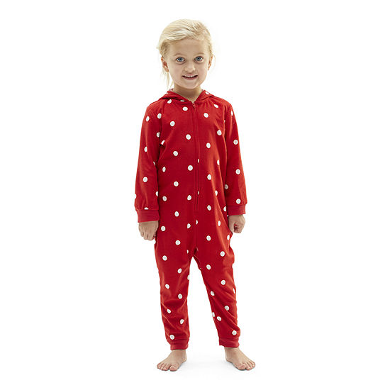 North Pole Trading Co. Toddler Girls Knit Long Sleeve One Piece Pajama