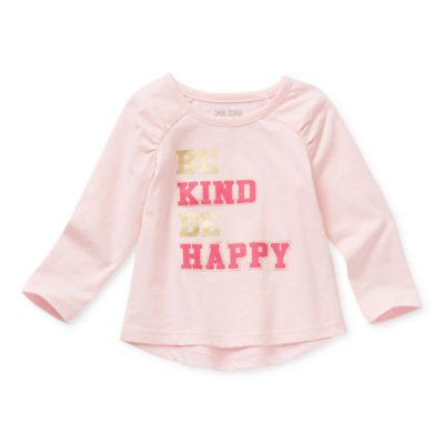 Okie Dokie Baby Girls Round Neck Long Sleeve Graphic T-Shirt