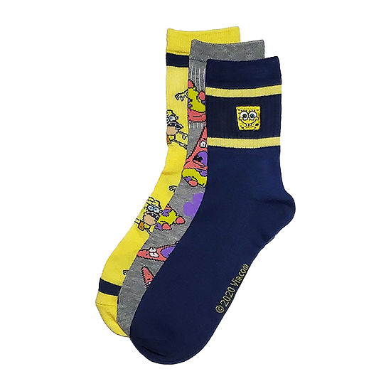 Nickelodeon 3 Pair Spongebob Quarter Socks-Mens