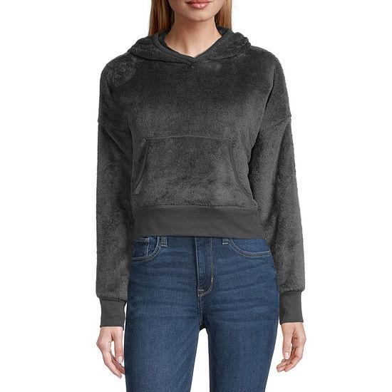 Arizona-Juniors Womens Long Sleeve Faux Fur Hoodie