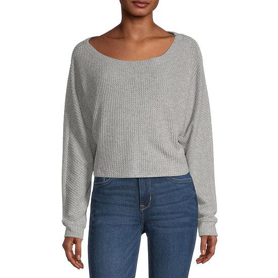 Arizona Juniors Womens Asymmetrical Neck Long Sleeve T-Shirt