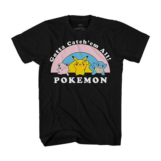 Mens Crew Neck Short Sleeve Pokemon Graphic T-Shirt