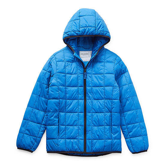 Arizona Little & Big Boys Hooded Packable Midweight Puffer Jacket