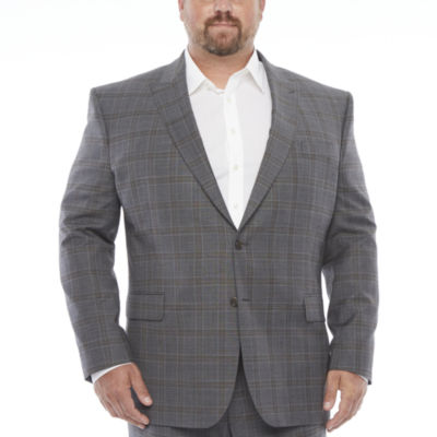 Stafford Super Suit Mens Plaid Stretch Regular Fit Suit Jacket-Big and Tall