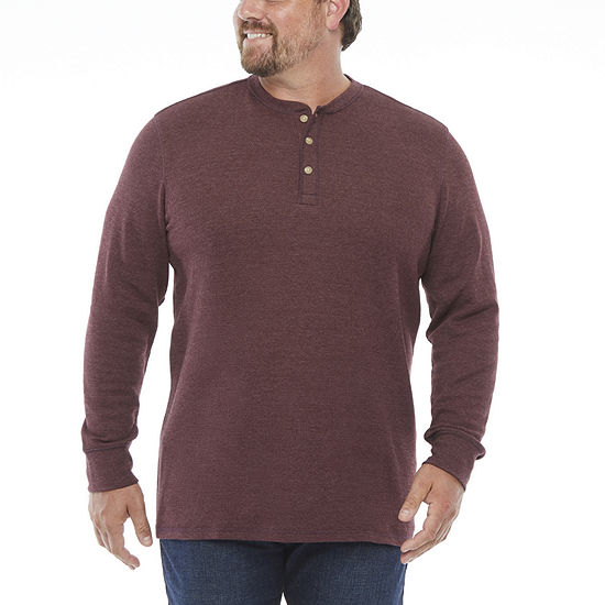 The Foundry Big & Tall Supply Co.-Mens Long Sleeve Henley Shirt