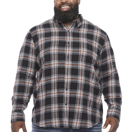 The Foundry Big & Tall Supply Co.Mens Long Sleeve Flannel Shirt, Large Tall , Black