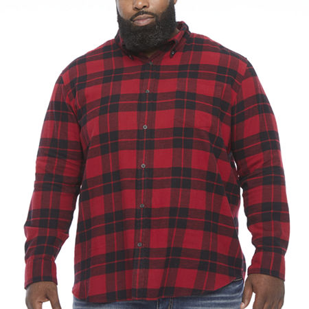 The Foundry Big & Tall Supply Co.Mens Long Sleeve Flannel Shirt, Large Tall , Red
