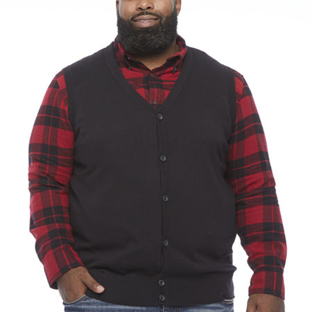The Foundry Big & Tall Supply Co. Mens V Neck Sweater Vest, Large Tall , Black