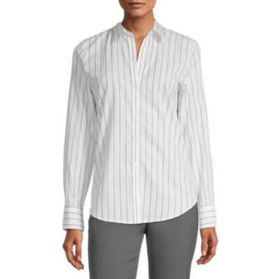 Worthington Womens Long Sleeve Modern Fit Button-Down Shirt
