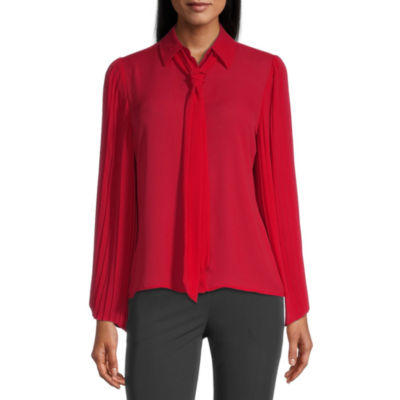 Worthington Womens Long Sleeve Blouse
