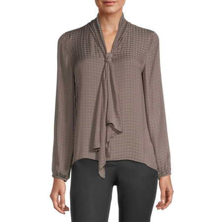 Worthington Womens V Neck Long Sleeve Blouse, Large , Beige