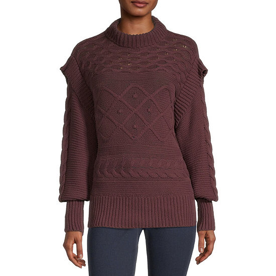a.n.a Womens Mock Neck Long Sleeve Pullover Sweater