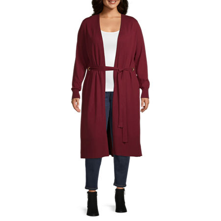 Bold Elements Womens Belted Duster - Plus, 5x , Red