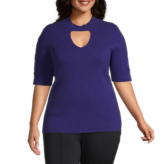 Bold Elements Womens Elbow Sleeve Choker Sweater - Plus