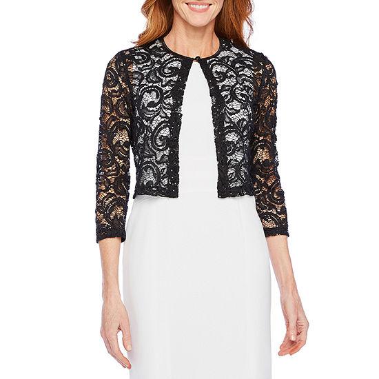 Ronni Nicole Womens ¾ Sleeve Sequin Lace Shrug
