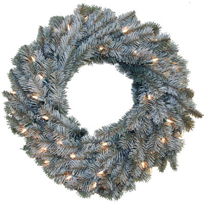 """24"""" Pre-Lit Frosted Pine Christmas Wreath"""
